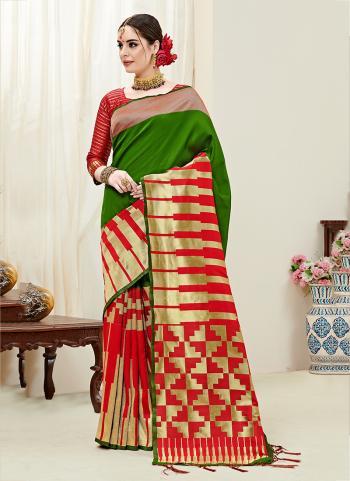 Green Silk Party Wear Weaving Saree