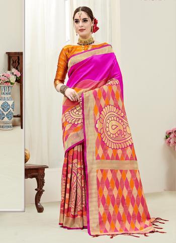 Pink Silk Party Wear Weaving Saree