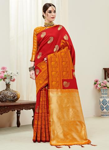 Red Silk Party Wear Weaving Saree