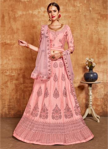 Pink Traditional Wear Embroidery Work Silk Lehenga Choli