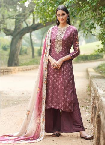 Purple Cotton Silk Casual Wear Digital Printed Palazzo Suit
