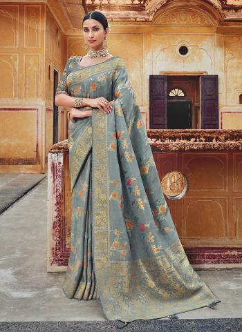 Grey Silk Wedding Wear Weaving Saree