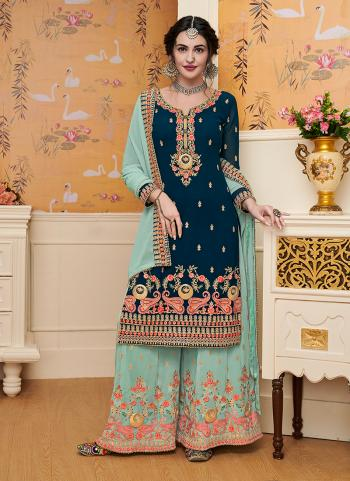 Rama Georgette Wedding Wear Embroidery Work Palazzo Suit
