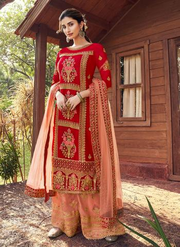Red Georgette Traditional Wear Hand Work Sharara Suit