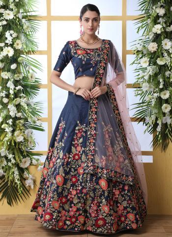 Navy Blue Art Silk Wedding Wear Thread Work Lehenga Choli