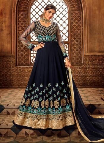 Navy Blue Georgette Reception Wear Embroidery Work Anarkali Suit