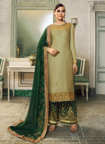 Light Green Satin Silk Party Wear Embroidery Work Palazzo Suit