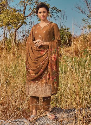 Brown Jacquard Festival Wear Butti Work Palazzo Suit