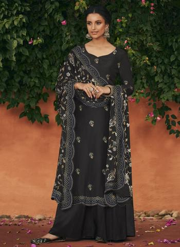 Black Silk Traditional Wear Butti Work Palazzo Suit