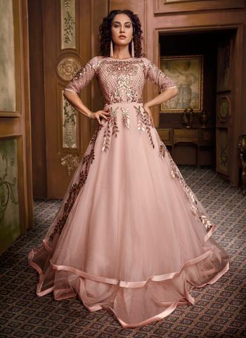 Peach Net Reception Wear Hand Work Gown