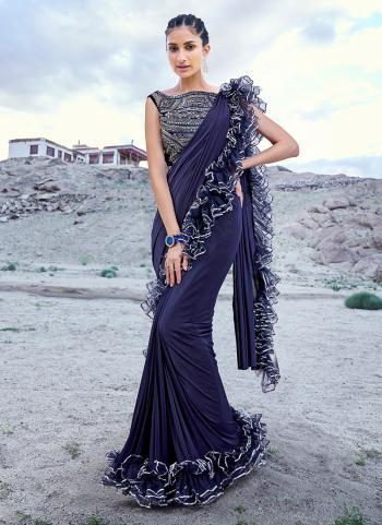 Navy Blue Silk Wedding Wear Hand Work Saree