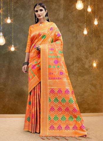 Banarasi Silk Orange Weaving Festival Wear Saree