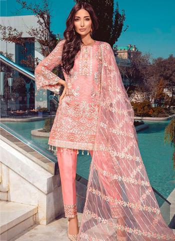 Net Pink Festival Wear Embroidery Work Pakistani Suit