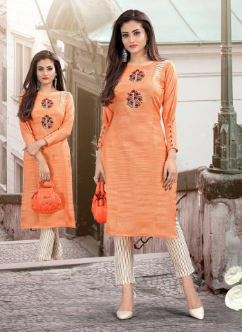 Cotton Embroidery Work Orange Casual Wear Top With Bottom