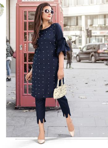 Cotton Sequins Work Navy Blue Casual Wear Top With Bottom