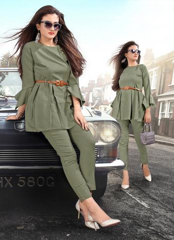 Rayon Plain Green Casual Wear Top With Bottom
