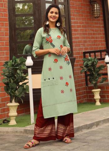Rayon Embroidery Work Light Green Party Wear Kurti With Palazzo