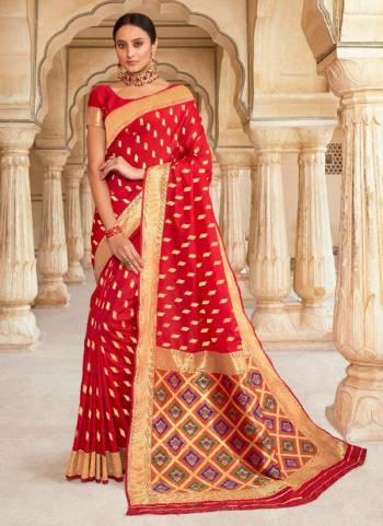 Silk Weaving Red Wedding Wear Saree