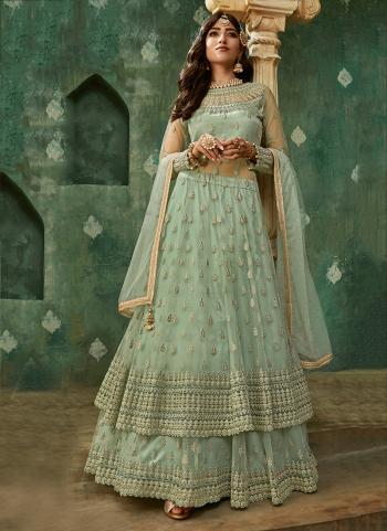 Green Net Wedding Wear Thread Work Lehenga Suit