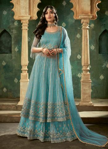 Sky Blue Net Wedding Wear Thread Work Sharara Suit