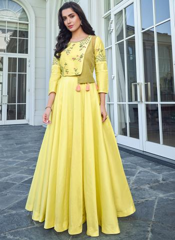 Yellow Silk Festival Wear Embroidery Work Gown