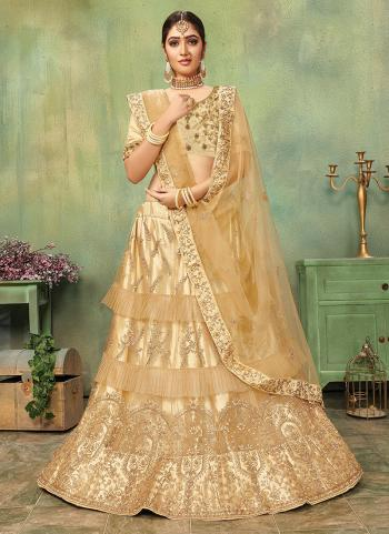 Golden Net Wedding Wear Embroidery Work Lehenga Choli