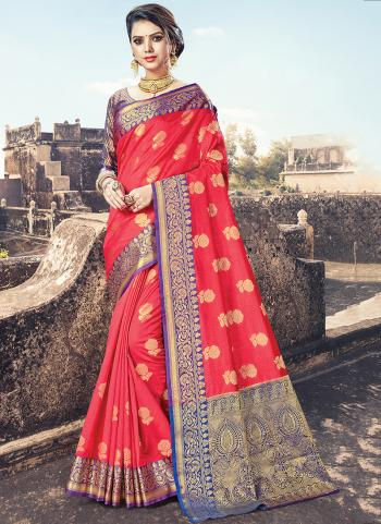 Pink Cotton Party Wear Weaving Saree