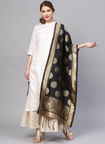 Black Traditional Wear Banarasi Silk Zari Work Dupatta