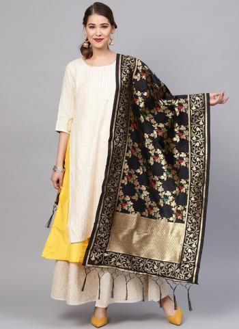 Black Wedding Wear Zari Work Banarasi Silk Dupatta
