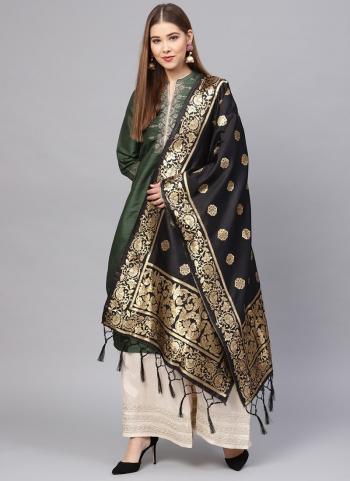 Black Party Wear Banarasi Silk Zari Work Dupatta