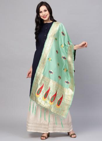 Zari Work Pista Green Banarasi Silk Traditional Wear Dupatta