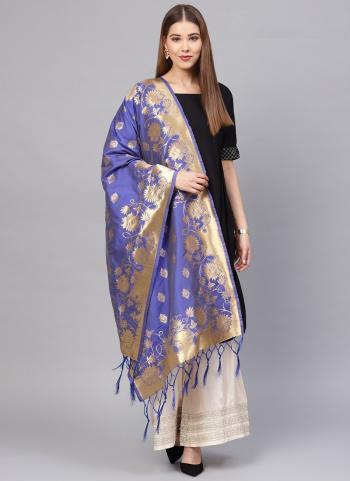 Zari Work Blue Banarasi Silk Wedding Wear Dupatta