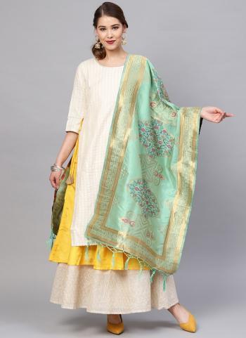 Banarasi Silk Pista Green Festival Wear Zari Work Dupatta