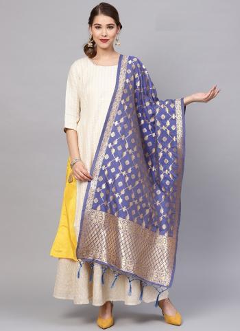 Blue Banarasi Silk Traditional Wear Zari Work Dupatta