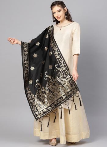 Banarasi Silk Black Party Wear Zari Work Dupatta