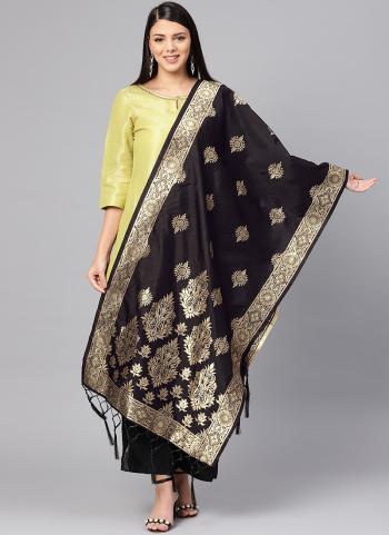 Bold Black Banarasi Silk Festival Wear Zari Work Dupatta