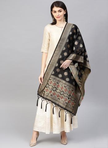 Buy Black Banarasi Silk Wedding Wear Zari Work Dupatta