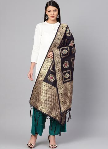 Black Festival Wear Banarasi Silk Zari Work Dupatta