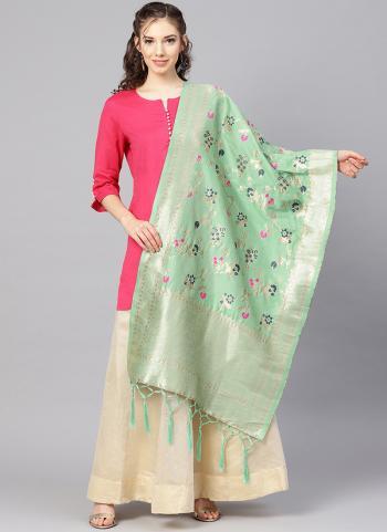 Banarasi Silk Pista Green Traditional Wear Zari Work Dupatta