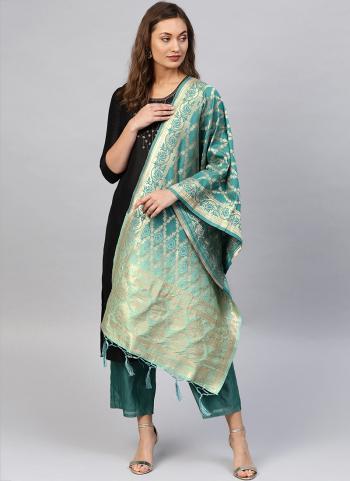 Zari Work Rama Banarasi Silk Party Wear Dupatta