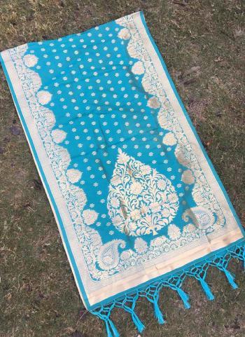Sky Blue Party Wear Silk Zari Work Dupatta