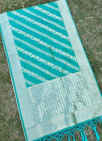Silk Teal Blue Festival Wear Zari Work Dupatta