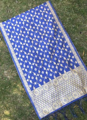 Silk Blue Wedding Wear Zari Work Dupatta