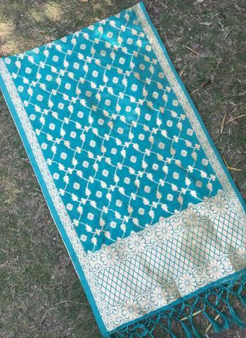 Silk Sky Blue Wedding Wear Zari Work Dupatta