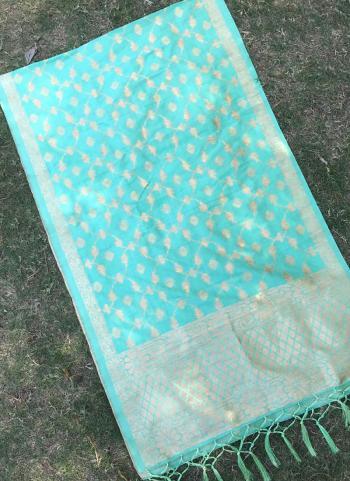 Silk Teal Wedding Wear Zari Work Dupatta