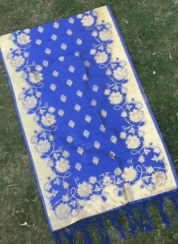 Silk Royal Blue Festival Wear Zari Work Dupatta