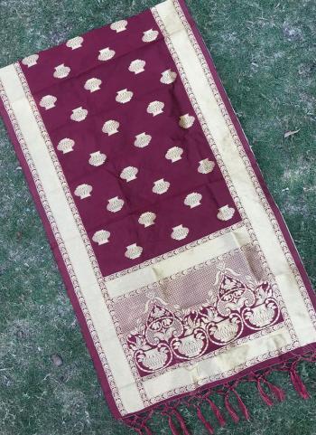 Silk Magenta Festival Wear Zari Work Dupatta