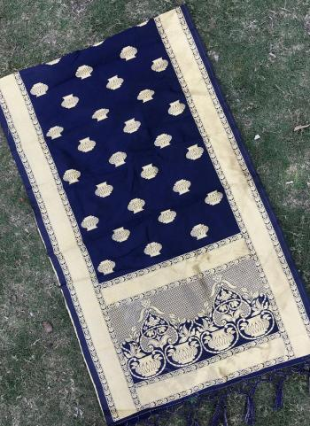 Silk Navy Blue Festival Wear Zari Work Dupatta