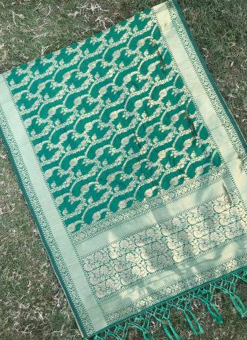 Silk Green Party Wear Zari Work Dupatta