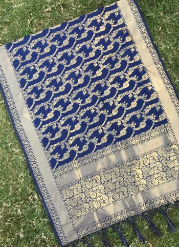 Silk Navy Blue Party Wear Zari Work Dupatta